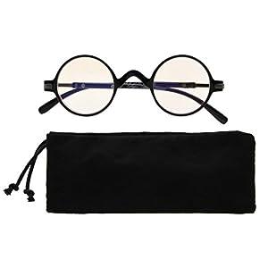 Eyekepper Anti UV Round Reading Glasses Vintage Professor Oval Readers (Black,+1.25)