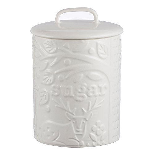 Mason Cash In the Forest Ceramic Sugar Jar with Airtight Lid; Embossed With Forest Scenes Inspired By Folk Tales of The Mid-19th Century; 25-Fluid Ounces; White (With Cookie Jar Ceramic Lid)