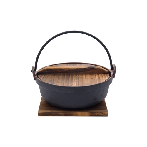 SMALL ENAMEL COATED CAST IRON POT WITH WOODEN LID AND BASE