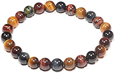 Armony Triple Protection Bracelet French Brand Red and Falcons Eye Yellow Tigers Eye Natural Stone