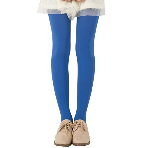 KoolFree Microfiber Stretch Cotton Crotch Opaque Solid Color Pantyhose Tights (sapphire), One -