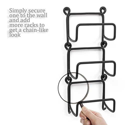 Wallniture Wrought Iron Wine Rack – Wall Mount Bottle Storage Organizer – Rustic Home Decor Black Set of 8 by Wallniture (Image #3)