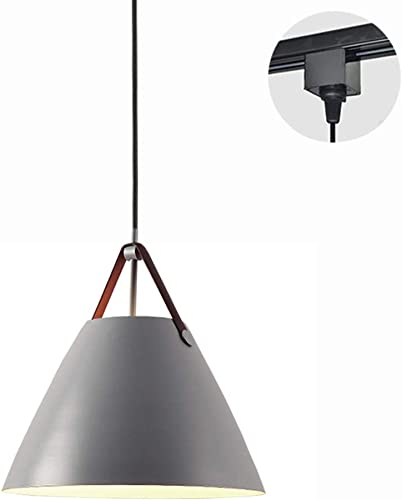 ANYE Grey Color Lampshade H-Type Track Light Pendants Nordic Chandelier Modern Minimalist Pendant Lighting E26 Bulb Not Included