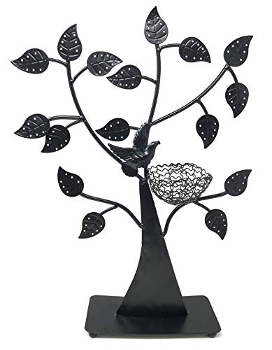 d Nest Jewelry Tree Earring Holder~Bracelet Stand~Necklace Organizer Jewelry Display (Black) ()