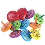 Trottola in Legno, 12 pezzi Mini Giroscopio in Legno Colorati Artigianali Set per Bambini Giocattolo Partito (Colore Casuale)