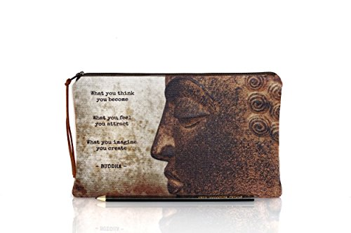 Buddha pencil case, Buddha makeup bag, Quote pouch, Photo zipper pouch, Inspirational, Spiritual, Life quotes, Teacher gift, Back to school by The Dutch Loft