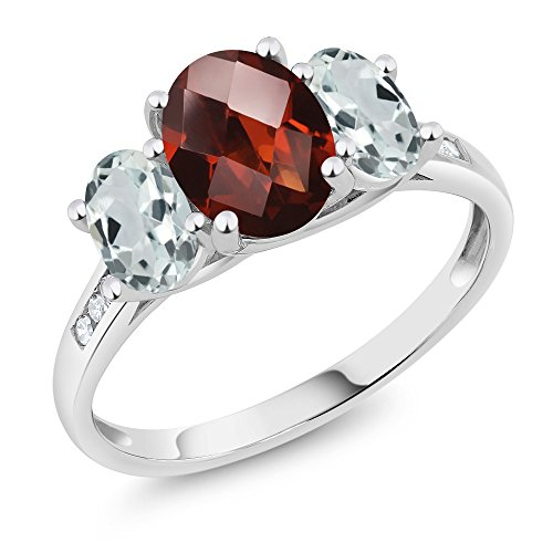 - Gem Stone King 10K White Gold Diamond Accent Checkerboard Red Garnet Sky Blue Aquamarine 3-Stone Ring 2.26 Ct (Size 6)