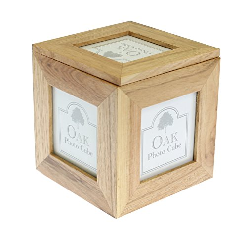 - benerini Natural Oak Wooden 5 Picture Photo Picture Cube/Keepsake Box - 5 Pictures of 3 x 3 inches
