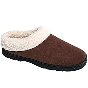 JACKSHIBO Men's Wool Plush Fleece Lined Slip On Indoor Shoes Memory Foam Comfortable Clog House Slippers