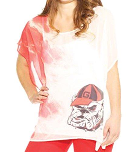 - Emerson Street UGA Georgia Bulldogs Sheer Short Sleeve Tunic-Large/XL White/Red