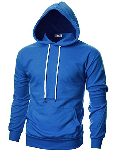 (OHOO Mens Slim Fit Long Sleeve Lightweight Hoodie with Kanga Pocket/DCF010-blue-2XL)