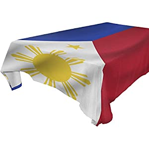 Philippines Flag 100% Polyester Tablecloth Table Cover for Dinner Parties Picnic Kitchen Home Decor, Multi Size Available