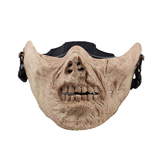 Aland Outdoor Cycling Protective Zombie Half Face Halloween Cosplay Tactical Mask Zombie Half face mask Skull Half face mask CS Protective Mask Protective mask 3# ()