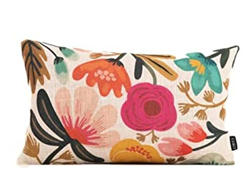 Ruck Floral Lumbar Pillow Cover | Natural Texture | Tropical Flowers 12x18in (102869) by Ruck