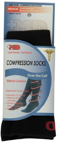 (MD USA Ribbed Cotton Compression Socks with Cushion, Black, Medium)