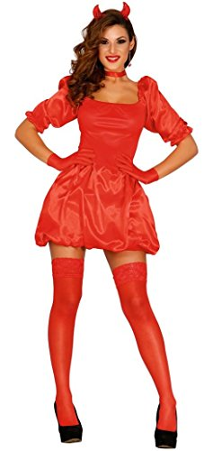 (Ladies Sexy Devil Red Demon Evil Satan Lucifer Halloween Puffball Fancy Dress Costume Outfit 8-14 (UK)