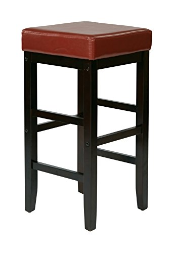 OSP Designs Office Star 30-Inch Square Faux Leather Backless Barstool with Espresso Legs, Crimson Red