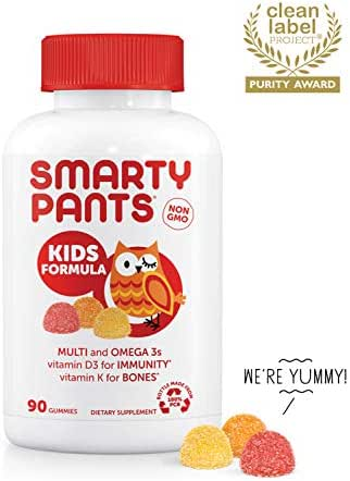 SmartyPants Kids Formula Daily Gummy Vitamins: Gluten Free, Multivitamin & Omega 3 Fish Oil (Dha/Epa), Methyl B12, vitamin D3, Vitamin B6, 90Count (22 Day Supply) - Packaging May Vary