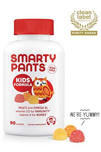 SmartyPants Kids Formula Daily Gummy Vitamins: Gluten Free, Multivitamin & Omega 3 Fish Oil (Dha/Epa), Methyl B12, vitamin D3, Vitamin B6, 90Count (22 Day Supply) - Packaging May Vary