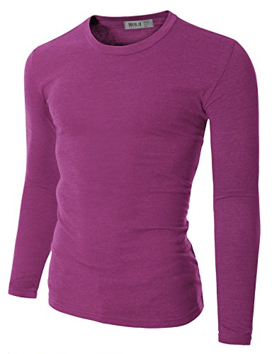 Doublju Mens Basic Crew Neck Long Sleeve Slim Fit T-shirts PURPLE 4XL