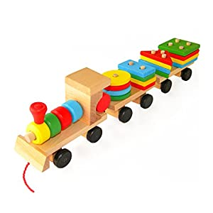 Wooden Toys Stacking Train Blocks, Pull Toy Promotes Baby Development. Educational Toys for Toddlers with 20 Wooden Shapes and 1 Train Toy by Boxiki Kids. Ecological Safe Play Toys for Kids. ASTM F963