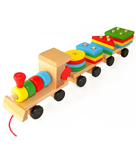 Toys For 20 : Wooden toys stacking train blocks pull toy promotes baby