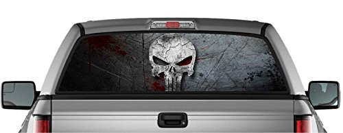 Truck Decals Graphics - EZ CUT PRO American Punisher Skull Pick-UP Truck Back Window Graphic Decal Perforated Vinyl (65