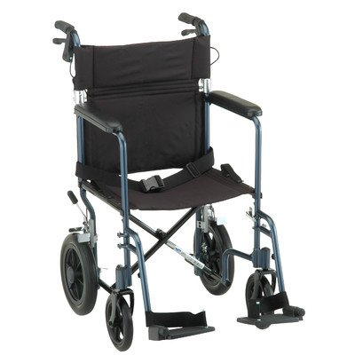 """NOVA 330 Lightweight Transport Chair with Hand Brakes and 12"""" Rear Wheels, 19"""""""