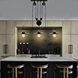T&A 3-Light Kitchen Island Pulley Pendant Light