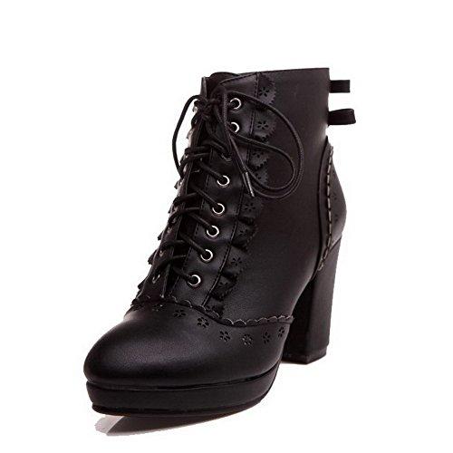 Black Plush with AmoonyFashion Solid Heels Short Womens Boots High bowknot Platform Closed PU Toe Round TqPOzTngr