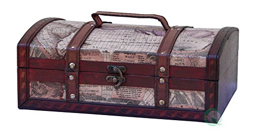 Old World Map Treasure Chest - 12 Inch.
