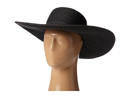 SCALA Women's Big Brim Paper Braid Hat, Black, One Size