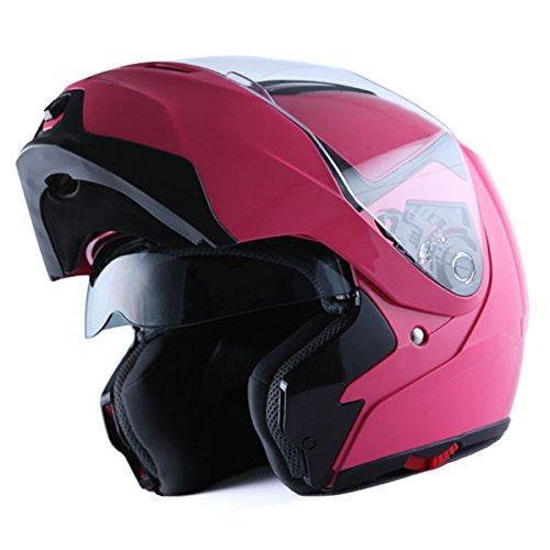 1Storm Motorcycle Street Bike Modular/Flip up Dual Visor/Sun Shield Full Face Helmet (GlossyPink, Small)