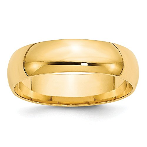 Solid 14k Yellow Gold 6mm Comfort Fit Wedding Band Size 13.5
