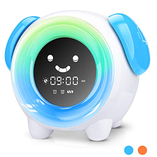 KUUOTE Kids Alarm Clock, Children Sleep Training Clock with 7 Changing Colors Teach Girls Boys Toddlers Time to Wake, Night Light Clock with 2400mAh Rechargeable Battery USB Charging, Blue