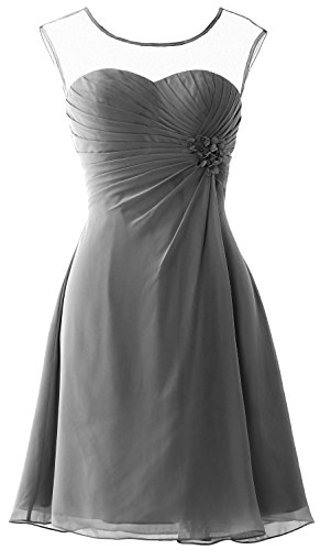 MACloth Women Short Bridesmaid Dress Cap Sleeve Cocktail Party Formal Gown Gris