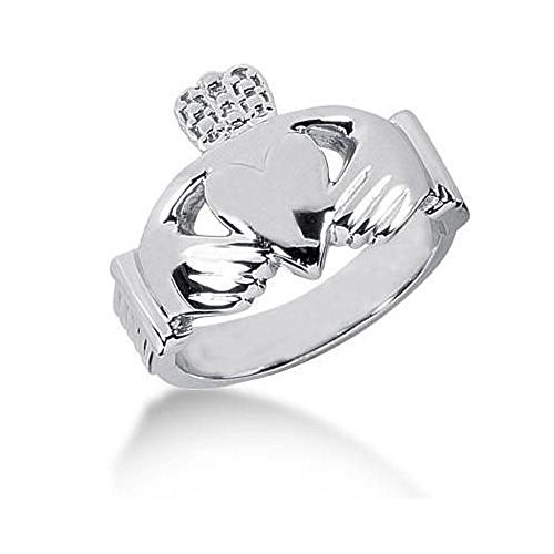 Men's Platinum Irish Claddagh Ring 106PLAT-MDR114 - Size 11.5