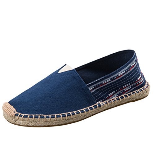 Vogstyle Unisex Adulto Zapato Flats Ballerinas Slip-On Zapatos de Lona Estilo 5-Azul