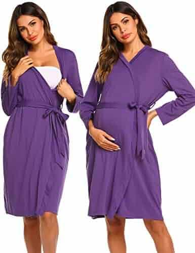 2e25e4dd8c Ekouaer Maternity Nursing Robe Labor Gown Pregnancy Nightgown Hospital  Breastfeeding Bathrobes