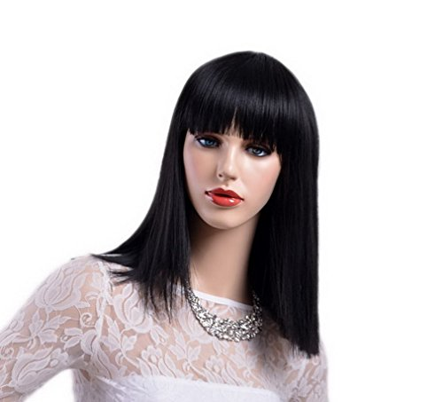 A.Monamour Women's Blunt Haircut Natural Black Full Bangs Long Straight Synthetic Wig For Party And Daily Wear ()
