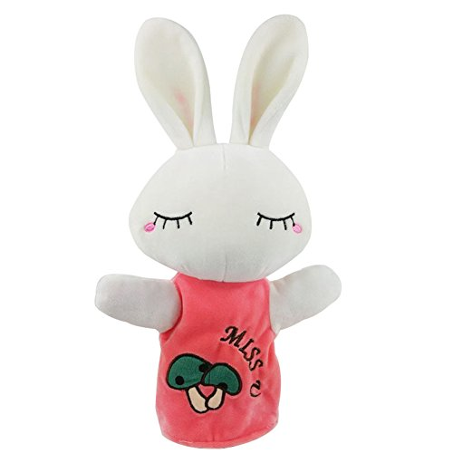 "OLizee 9.4"" Cute Animal Hand Puppet Toys for Baby Toddler Kids Glove Puppet Soft Plush Doll, Rabbit"
