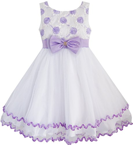 EE42 Sunny Fashion Little Girls' Dress Purple Flower White Tulle Pleated Wedding 4-5