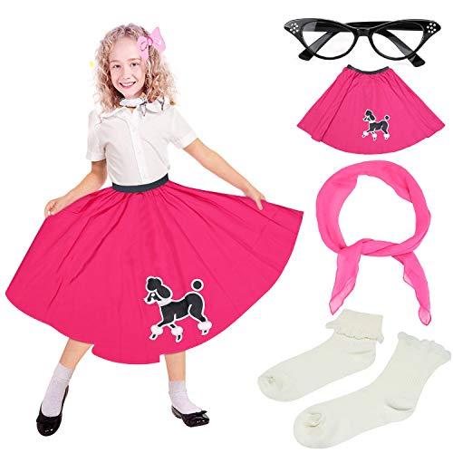 (Beelittle 50s Girls Costume Poodle Skirt 50s' Accessories Set - Poodle Skirt for Kids,Chiffon Scarf, Cat Eye Glasses, Bobby Socks (F-Hot Pink))