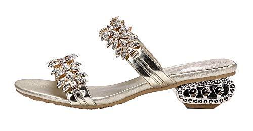 Sandales d'orteil PU AalarDom à Cuir Bas Femme Talon Doré TSFLH007095 Serte Ouverture q1fwIgzI