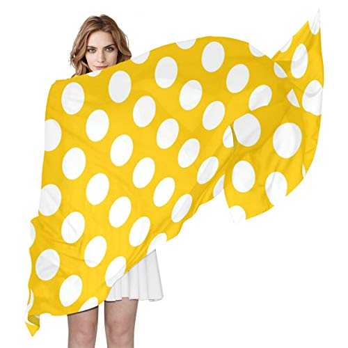 MAHU Silk Scarf Polka Dot Yellow Backgound Pattern Fashion Lightweight Sheer Shawl Wrap Long Muffler for - Dot Polka Scarf Colored Multi