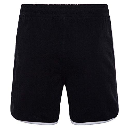 Fashion Transpirable Adeshop Pants Men Fitness Beach Pants Loose Cintura Casual Verano Elasticidad puro Running pantalones Sports Tour Big New Short Black Color rzqIXxzF