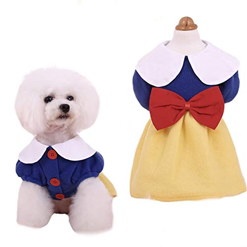 CheeseandU Snow White Dog Costume Holiday Xmas Princess Puppy Dressshirt Snow White Pet Apparel for Halloween Party Xmas…