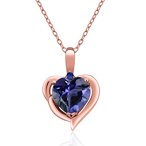 Gem Stone King 1.26 Ct Heart Shape Blue Iolite 18K Rose Gold Plated Silver Pendant ()
