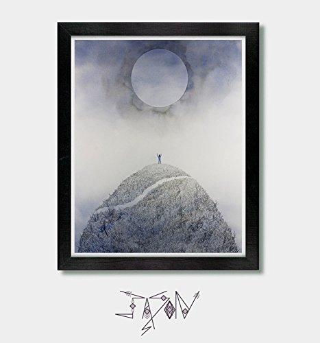 Summon and Seek. Mountains, Inspirational, Hiking, Hiking Gift, Moon, Yoga Decor, Art Print, Wall Art, Spiritual Art, Alan Watts, Mountain Climbing, Artwork, SVG, Journey, Success, Enlightenment (Watts Arts)