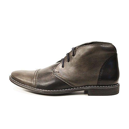 PeppeShoes Modello Dario - Handmade Italiano da Uomo in Pelle Grigio Chukka Boots - Vacchetta Pelle Morbido - Allacciare